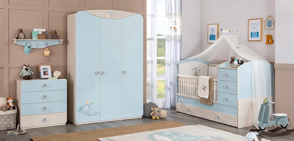 Home Babykamer blauw babybed ledikant meegroeibed unisex  4 in 1