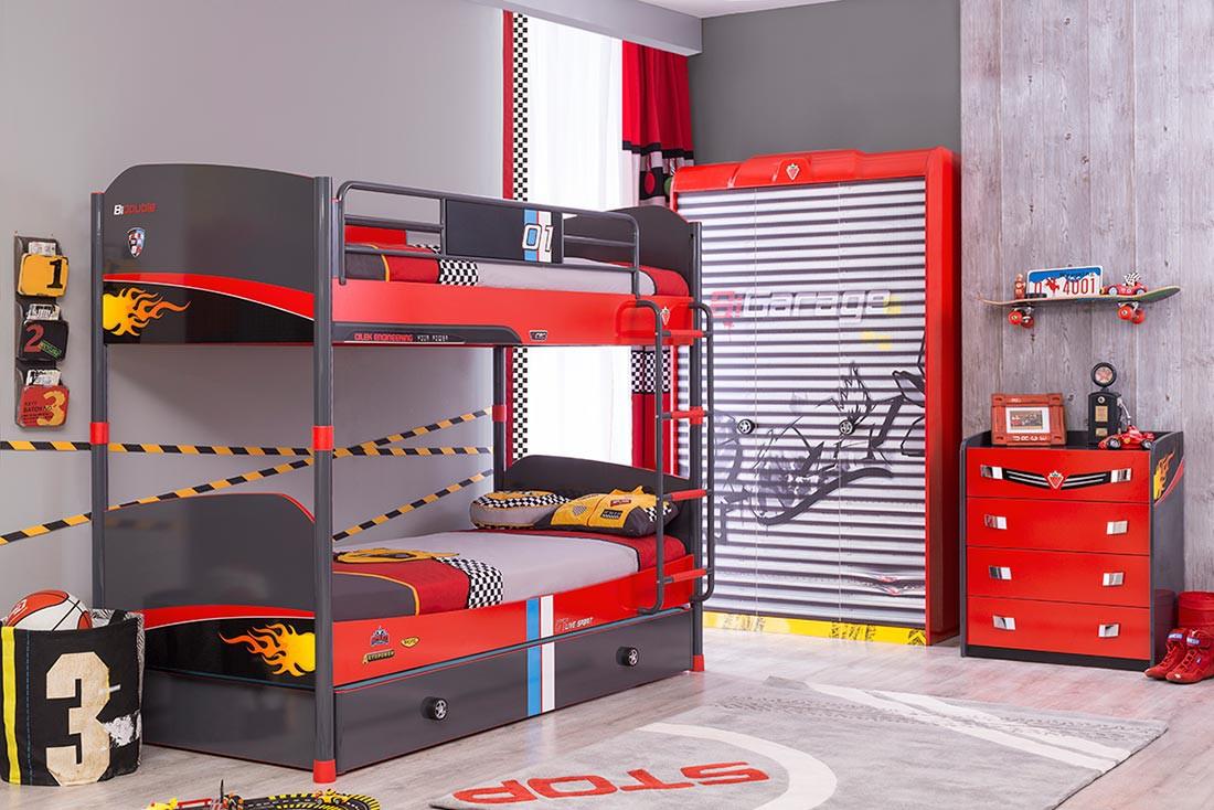 Slaapkamer Flat Set : Racer auto stapelbed hoogslaper Kinderkamer ...