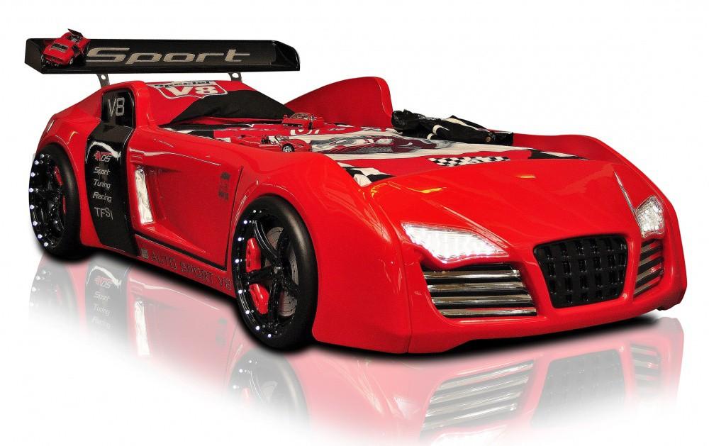 autobed racebed v8 turbo rood kinderkamer kinderbed. Black Bedroom Furniture Sets. Home Design Ideas