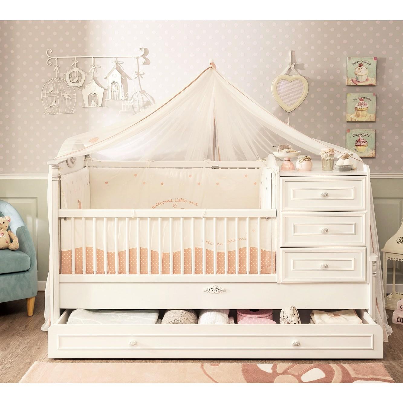 Babybed Aan Bed.Romantic Babybed Ledikant Meegroeibed 4 In 1 Kinderkamer