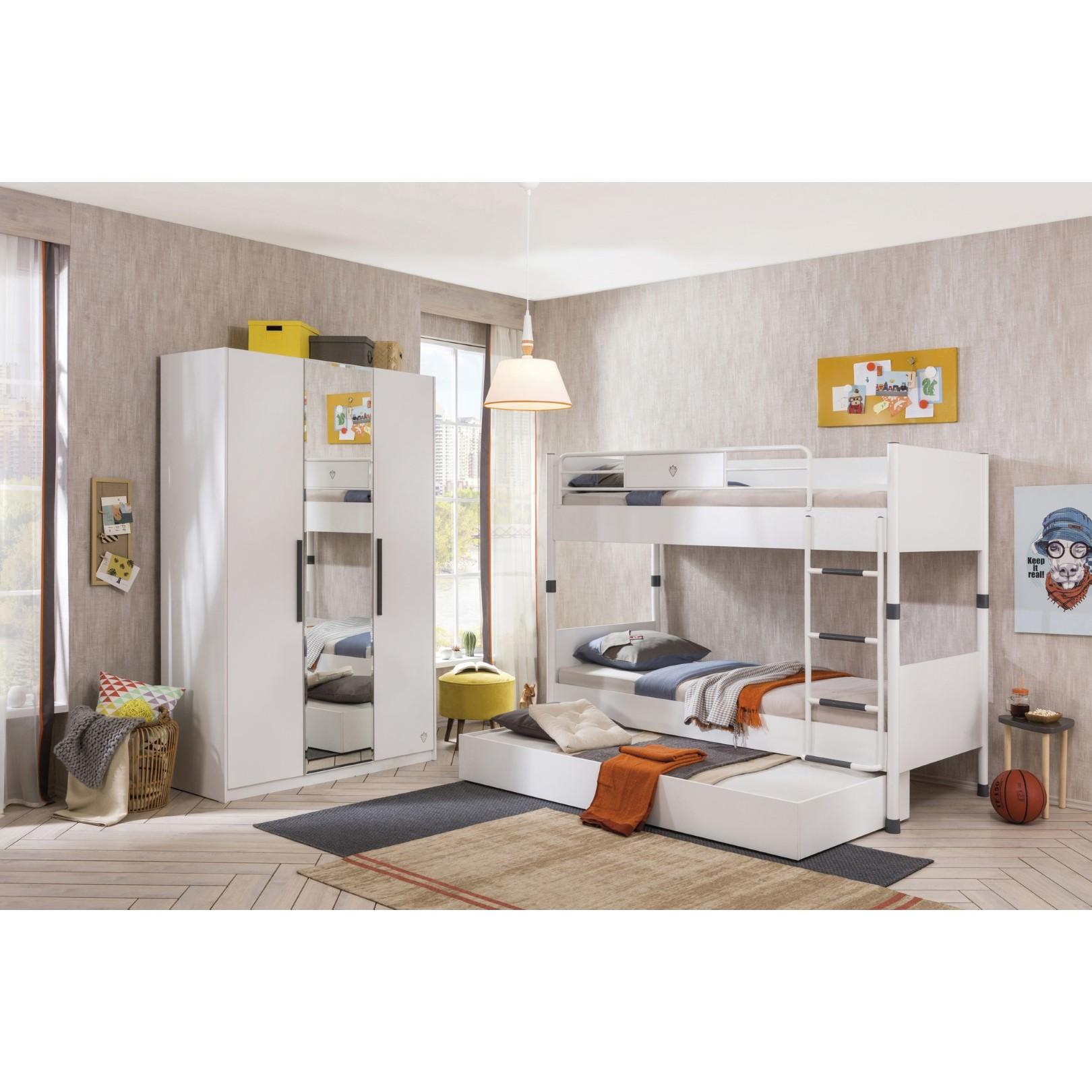 California tienerkamer 3 deurs kledingkast wit Kinderkamer ...