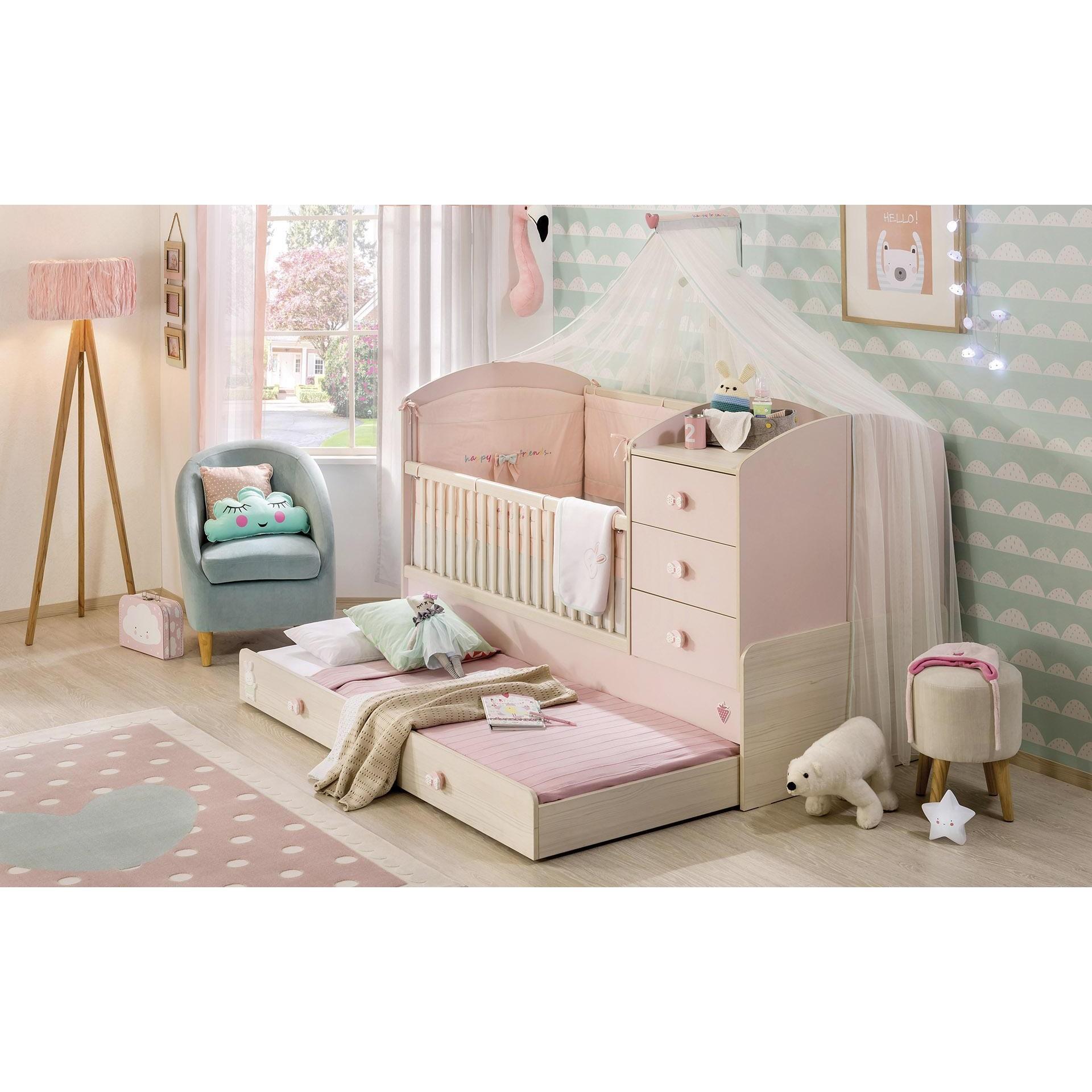 Baby En Peuterbed.Babykamer Roze Babybed Ledikant Meegroeibed 4 In 1 Kinderkamer