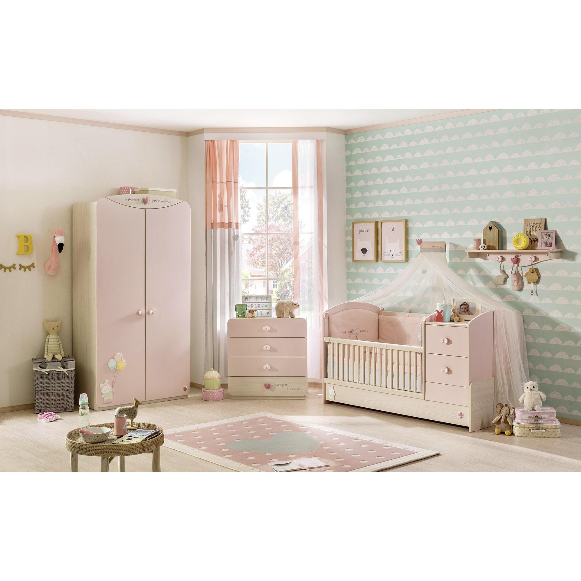 Baby Kamers Compleet.Babykamer Roze Babybed Ledikant Meegroeibed 4 In 1 Kinderkamer