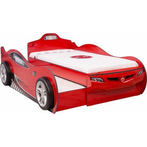 Autobed met logeerbed rood kinderbed
