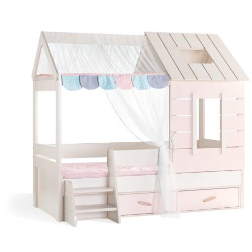 Cento Pink meisjesbed bedhuisje roze met wit, bed huis meisjes wit, roze met wit bedhuis, inspiratie roze meisjeskamer, inspiratie lichtroze met witte meisjeskamer, meisjesbed lichtroze met wit