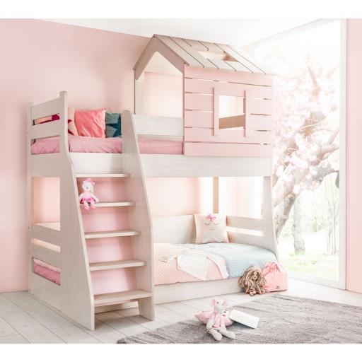 Cento Pink stapelbed wit met roze, stapelbed meisjeskamer, lichtroze met witte meisjeskamer, inspiratie kinderkamer