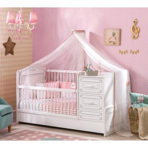 Emily meegroeibed peuterbed wit ledikant babybed meisjes for Decoratie peuterkamer