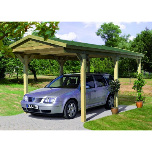 Karibu classic carport zadeldak 1 297 x 496 cm for Karibu carport