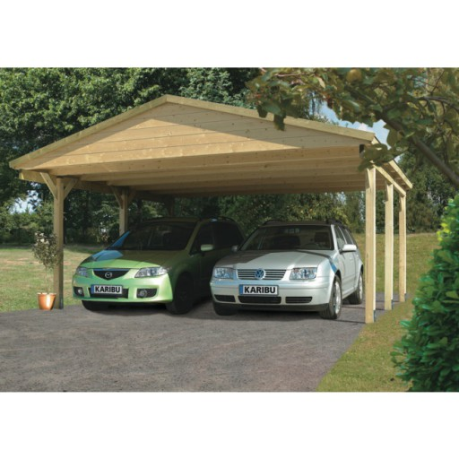 Karibu classic carport zadeldak 3 530 x 496 cm for Karibu carport