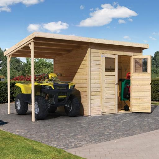 Merseburg 5 karibu tuinhuis met aanbouwdak