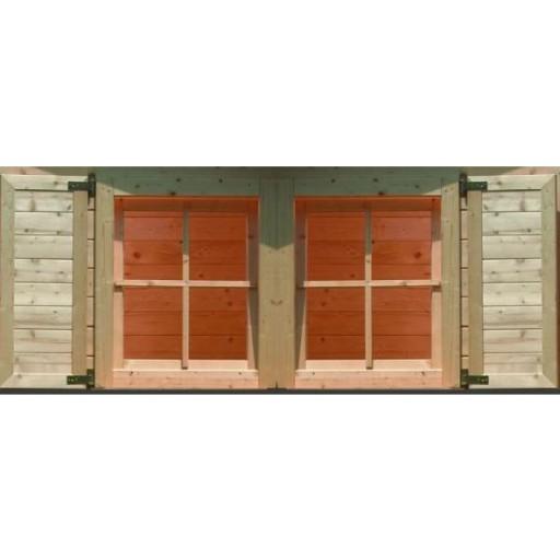 Karibu vensterluiken dubbel raam onbehandeld