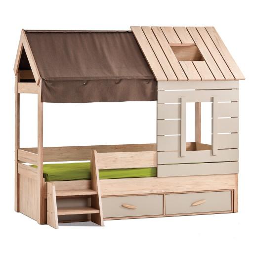 Cento bedhuisje large kinderbed, meisjesbed houtlook, jongensbed houtlook, bedhuisje met opbergruimte, kinderbed met lade, inspiratie kinderkamer houtlook