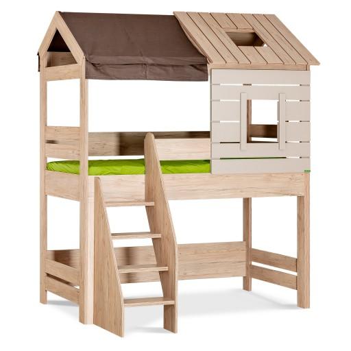 Cento halfhoogslaper bedhuisje kinderkamer, hoogslaper jongens, houtlook halfhoogslaper meisjes, hoogslaper houtlook en grijs