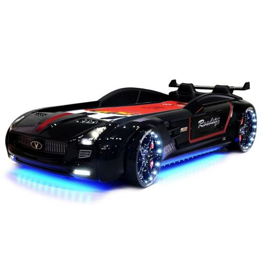 Roadster autobed black sport edition, kinderbed auto, kinderkamer auto,  inspiratie stoere autokamer, jongenskamer auto, racebed zwart