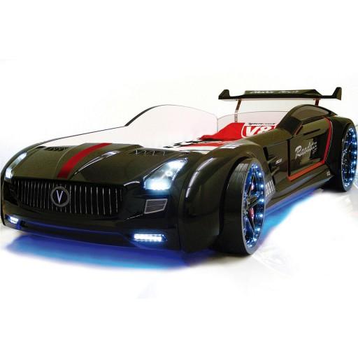 Roadster zwart autobed, kinderbed, jongensbed auto zwart met LED verlichting en geluid, racekamer, racebed zwart, autokamer