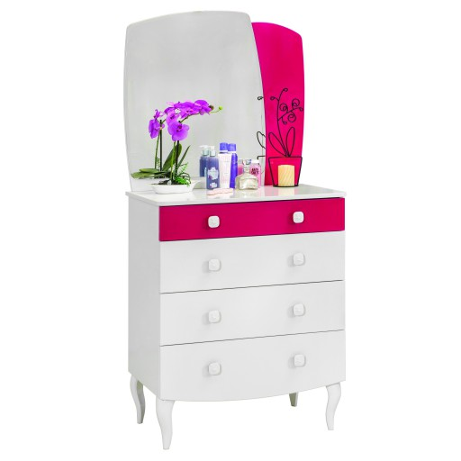 Sweety commode wit, kinderladekast wit met spiegel, ladekast wit met roze en spiegel, meisjeskamer