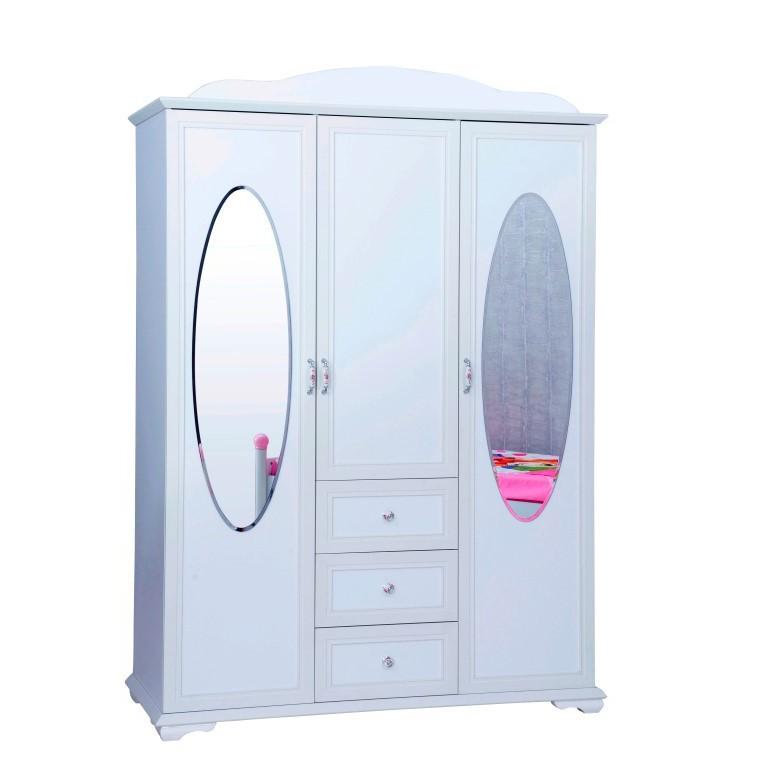 kinderkledingkast 3 deurs cindy kopen bij huis en tuin wereld kinderkamer kinderbed. Black Bedroom Furniture Sets. Home Design Ideas
