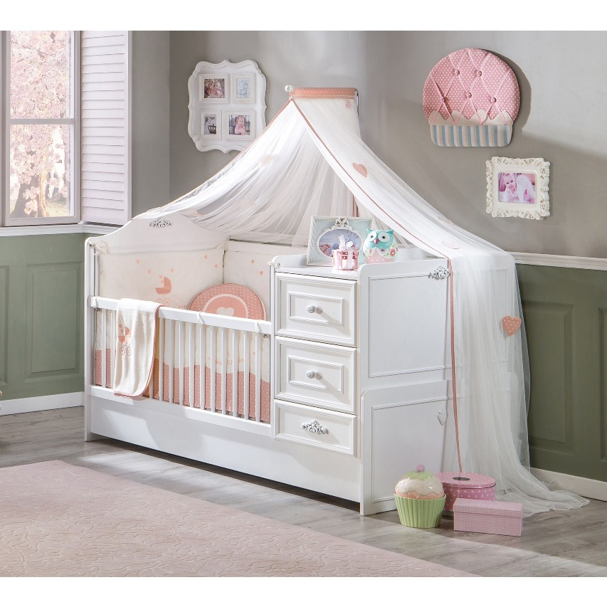 Babybed Aan Bed.Romantic Peuterbed Meegroeibed Babykamer Kinderkamer