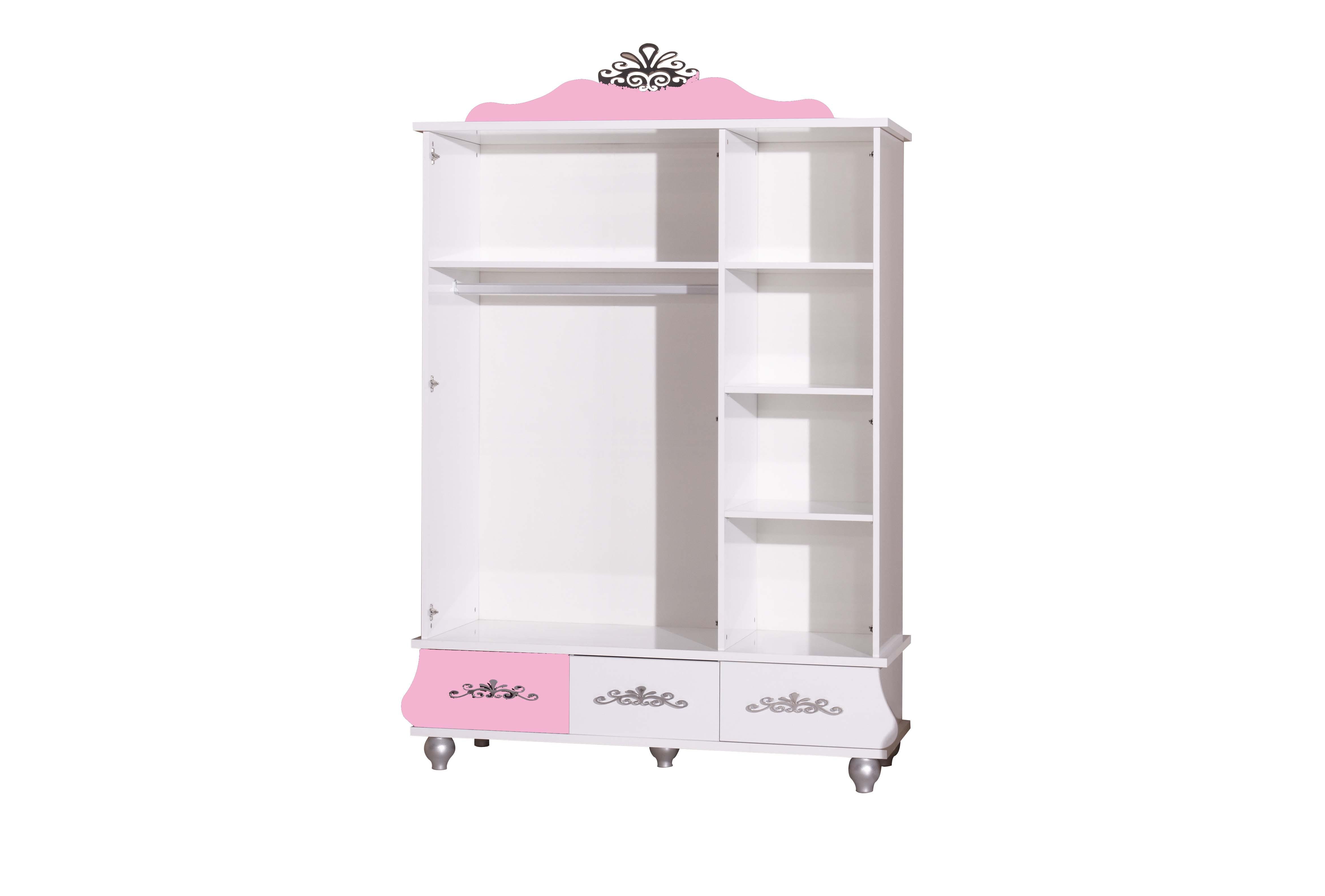 Prinses 3 deurs kledingkast roze wit koopt u bij huis en tuinwereld kinderkamer kinderbed - Roze kinderkamer ...