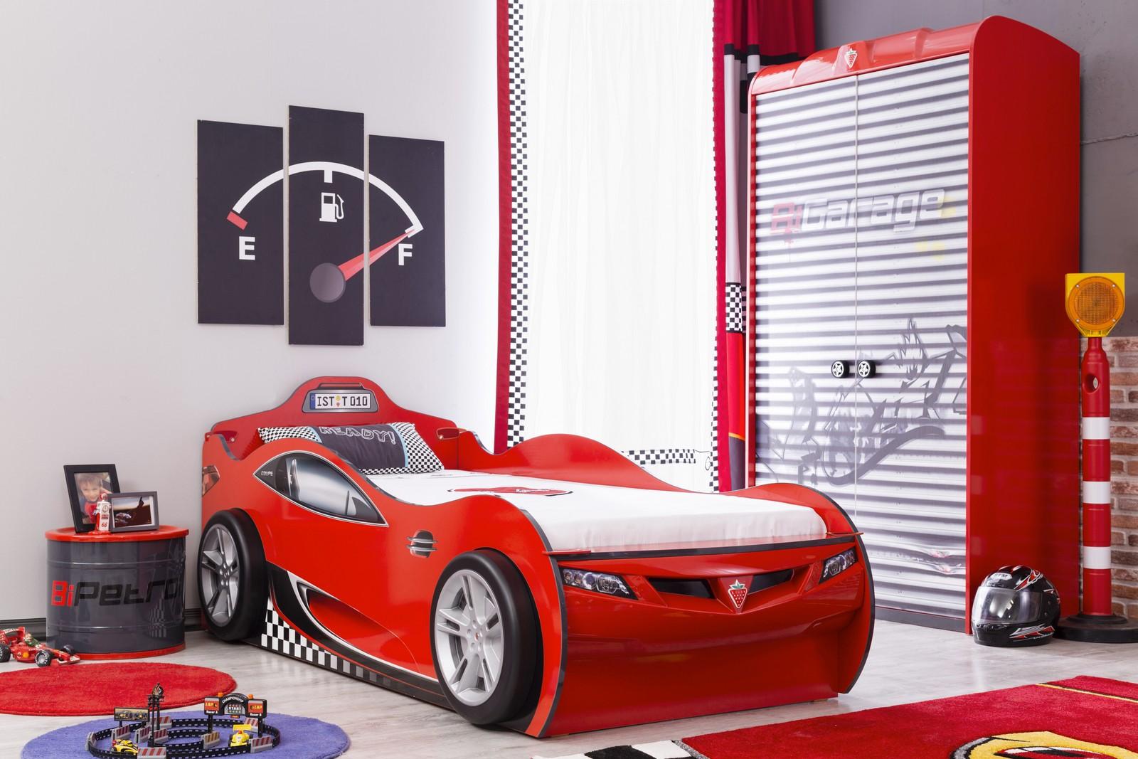 Autobed met logeerbed rood jongens bed kinderkamer kinderbed terrashaard en barbecues - Slaapkamer autos ...