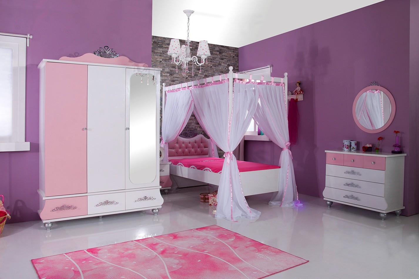 Prinsessenkamer roze 3 delige aanbiedingsset kinderkamer kinderbed terrashaard en barbecues - Roze kleine kamer ...