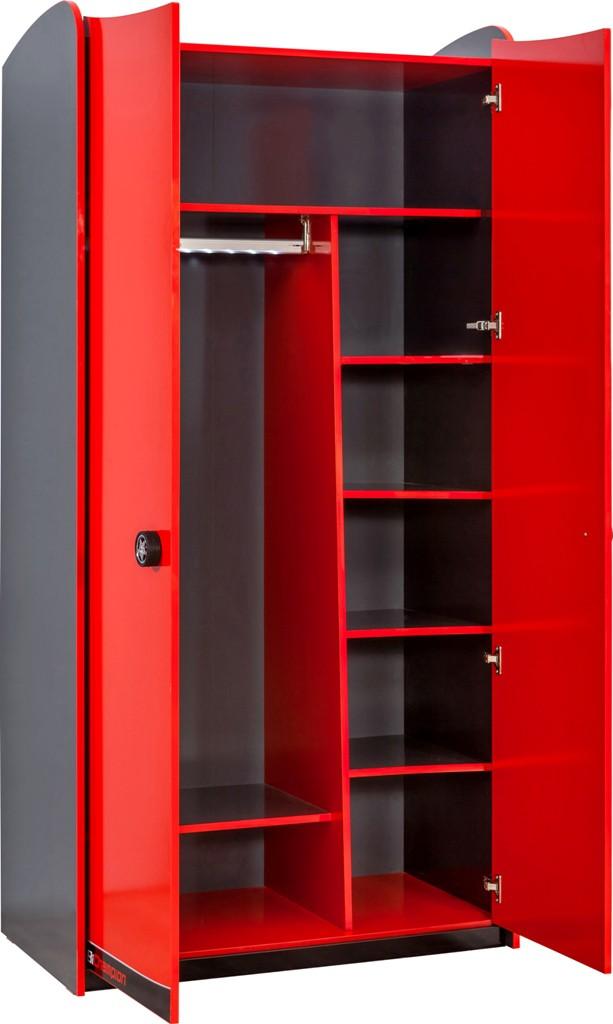 ... en Slapen Kindermeubels jongen Champion Racer 2-deurs kledingkast rood