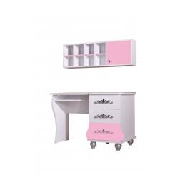 Prinses bureau roze/wit voor de kinderkamer