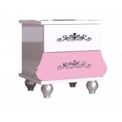 Prinses kindernachtkastje roze/wit voor de kinderkamer