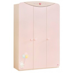 Babykamer roze kledingkast 3 deurs meisjes