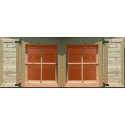 Karibu Vensterluiken dubbel raam | onbehandeld (79 x 79 cm)