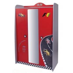 V Power rood kinderkledingkast 3 deurs kinderkamer