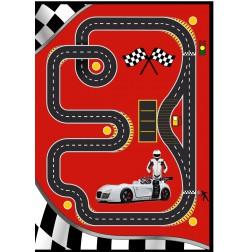 Tapijt Speed V8 voor de kinderkamer / jongenskamer | Rood - 133 x 180
