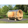 Karibu buitensauna Barrel sauna 2 binnenkant