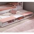 Romantic lade onder meisjesbed wit, opberg lade onder bed wit, logeerbed onder bed