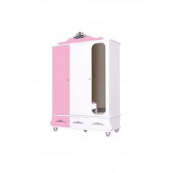 Prinses kinderkledingkast 3 deurs roze/wit voor de kinderkamer