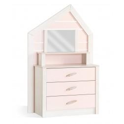 Cento Pink commode ladekast huisje met spiegel meisjeskamer