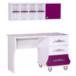 Prinses bureau paars/wit voor de kinderkamer