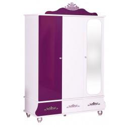Prinses kinderkledingkast 3 deurs paars/wit voor de kinderkamer